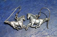 Vintage Sterling Silver Running Horses Pierced Earrings.