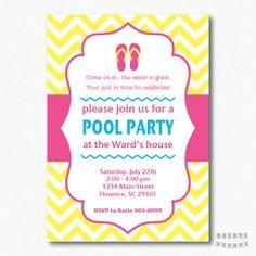 92464558266b PRINTABLE Chevron Flip Flops Pool Party by PrintsForYourEvents