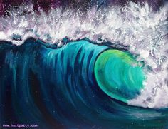 The Wave By Cinnamon Cooney The Art Sherpa as a Fully guided art lesson for Hart Party on youtube. Free online home painting party https://www.youtube.com/user/HoneyBmama #artlesson #theartsherpa #hartparty #easyart #paintingparty #art #diy
