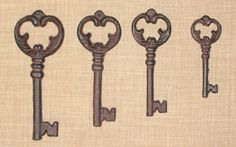 CAST IRON Antique-Style Skeleton Key Primitive Victorian Steampunk Western