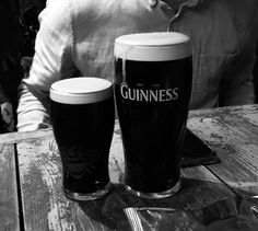 Big Guinness and Small Guinness drinks at the pub