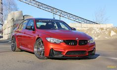 The Turner Motorsport BMW F80 M3 project car on Forgeline one piece forged monoblock GA1R Deep Cap wheels finished in Transparent Smoke.
