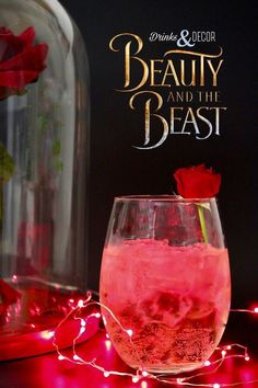 Disney's Beauty and the Beast Inspired Cocktails. Enchanted Rose drink, rosè, w... ,  #Beast #Beauty #Cocktails #Disneys Liquor Drinks, Non Alcoholic Drinks, Cocktail Drinks, Cocktail Tequila, Tequila Drinks, Blue Curacao Drinks, Alcholic Drinks, Red Cocktails, Bourbon Drinks