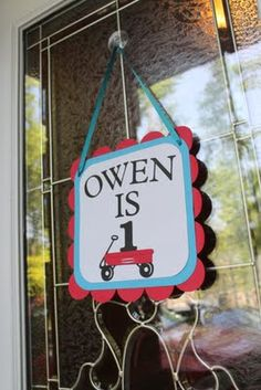 door sign ~ Red Wagon / Radio Flyer Party