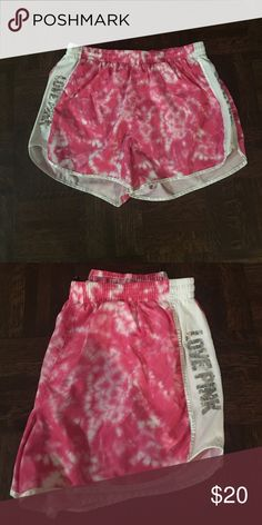 """Victoria's Secret Pink Tie-Dye Running Shorts Victoria's Secret Pink pink tie dye athletic shorts with Sequined """"love pink"""" down the sides PINK Victoria's Secret Shorts"""