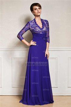 A-Line/Princess V-neck Floor-length Chiffon Mother Of The Bride Dress - IZIDRESS.com at IZIDRESS.com