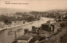 Riverside of Deusto, c. with 2 loaders in Olabeaga. Bilbao, Old Pictures, Paris Skyline, River, Architecture, Roots, Zara, Parking Lot, Train