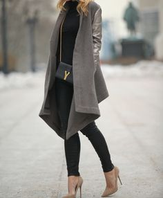Brooklyn Blonde   loose flowy shawl collar open taupe grey coat with leather sleeves   neutral nude toned shoes   black skinny jeans