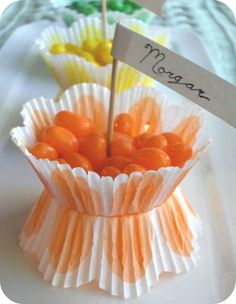 Cupcake liner dish...would do name placing with candy for a Tea Time Party