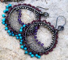 Hoop Earrings drop earrings dangle earrings Ethnic by chashway, $95.00