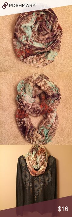 THE BUCKLE Infinity Scarf Multi-color, open weave infinity scarf. 100% acrylic. Tops shown in display are available in separate listings. Buckle Accessories Scarves & Wraps