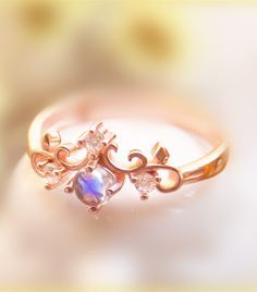 Rose Gold Plated 925 Silver Moonstone Princess Crown Ring 2017