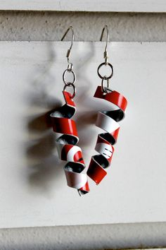 Upcycled Valentines Day Red and White Twisted Earrings by CraftyAlicia, $6.00