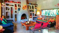 Beautiful. A Mexican or Spanish-style adobe or cob home
