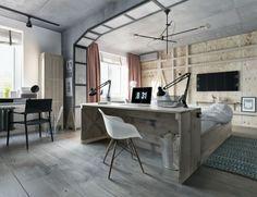 graues holz schlafzimmer design idee bett schreibtisch