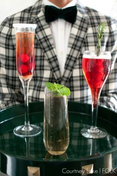 FOLK New Years Eve Champagne Drinks Trio - Cherry Bomb, Champagne Mojito & Raspberry Champagne Fizz.
