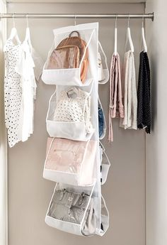 A hanging bag organizer — it won't put stress on your purse handles. 37 Holy Grail Organization Products To Make Your Life So Much Easier Handbag Storage, Handbag Organization, Closet Organization, Diy Handbag, Hanging Purses, Hanging Closet, Organizing Hacks, Organizing Your Home, Organizing Solutions