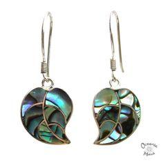 Abalone Taro Leaf Earrings