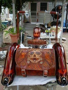 great tooling on the leather. Trike Bicycle, Lowrider Bicycle, Trike Motorcycle, Cruiser Bicycle, Bicycle Rack, Vintage Bikes, Vintage Motorcycles, Bmx, Custom Trikes