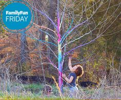 color a tree by soaking sidewalk chalk and applying with a paintbrush.  doesn't hurt the tree!