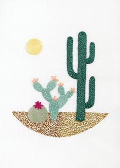 Master the top ten embroidery stitches - running stitch, french knots and lazy daisy stitch - we've got all the beginner's embroidery covered! Cactus Embroidery, Simple Embroidery, Embroidery Patterns Free, Embroidery For Beginners, Cross Stitch Embroidery, Hand Embroidery, Cross Stitch Patterns, Embroidery Designs, Broderie Simple