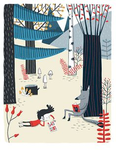 Lecture en forêt - kids illustration kinder children boys books reading