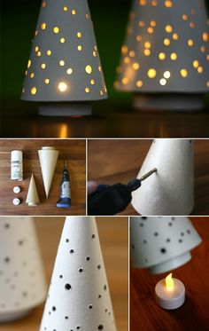 Best 12 DIY Christmas Tree Cones for ten cents apiece collage tutorial at thehappyhousie – SkillOfKing. Diy Christmas Tree, Christmas Projects, All Things Christmas, Christmas Holidays, Christmas Ornaments, Xmas Trees, Concrete Crafts, 242, Diy Weihnachten