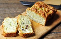 zucchini & olive bread, with goat cheese