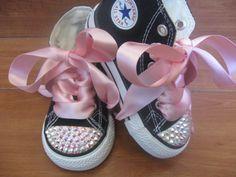 Girls Black Bling Princess Converse Shoes