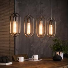 Luster 4 x Double oval Drop Lights, Wall Lights, Ceiling Lights, Suspension Bar, Lampe Metal, Lamp Inspiration, Videos Online, Affordable Furniture, Cool House Designs
