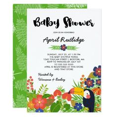 Toucan Tropical Baby Shower Card - invitations custom unique diy personalize occasions