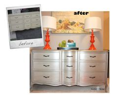 Silver French Provincial dresser Before and After
