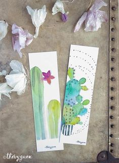 Watercolor Bookmarks, Watercolor Books, Watercolor Pictures, Watercolor Cactus, Watercolor Paintings, Watercolours, Green Cactus, Cactus Vert, Creative Bookmarks