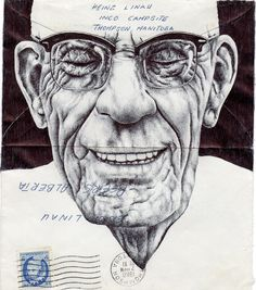 Mark Powell Biro Pen Drawings on Antique Envelopes