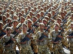 Iranian soldiers on parade / AP