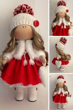 Christmas doll Textile doll Handmade doll Fabric doll red color Soft doll Cloth doll Tilda doll Rag doll Interior doll by Irina Emets
