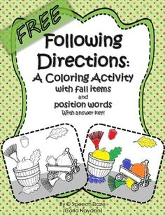 direction quotes This free activity is a coloring page with 2 versions, one has written directions and one has directions with visual prompts. You can laminate the pages and use dry e Speech Activities, Color Activities, Language Activities, Halloween Speech Therapy Activities, Free Activities, Listening And Following Directions, Following Directions Activities, Speech Language Pathology, Speech And Language