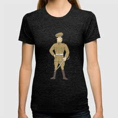 World War One British Officer Sword Standing Cartoon  T-shirt. Illustration of a World War one British officer soldier serviceman standing holding sword looking to the side viewed from front set on isolated white background done in cartoon style. #illustration #WorldWarOneBritishOfficer