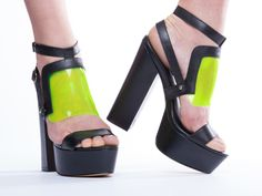 YES Tracy in Black Leather Neon Green at Solestruck.com