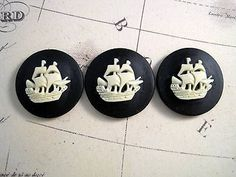 25mm Ship Cameos (3) - L662 Jewelry Finding