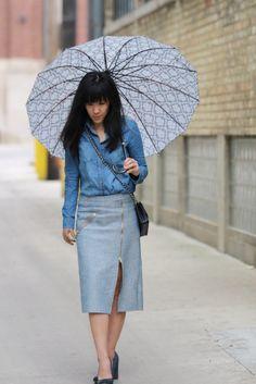 A Rainy Day in Grand Rapids - Umbrella, navy blue herringbone midi pencil skirt, chambray button up