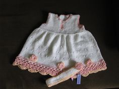 White knit baby dress with headband by delectare on Etsy, $21.00