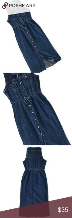 old navy • 90's long denim dress in great condition!   measurements- shoulders 11"