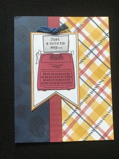 """My Type of Note Sentiments.MIFYH 3 pattern Heart papers, Blue Burlap ribbon & a black journaling pen & I have """"just a little note"""" ready to send. Birthday Cards For Men, Man Birthday, Grateful Heart, Burlap Ribbon, Shaker Cards, Paper Hearts, Mothers Day Cards, Happy Mail, Autumn Theme"""