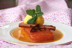 Sandía flambeada con salsa de naranja y sorbete de mandarina El Ágora de Ángeles