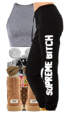 """""""• Lazy Day • Contest • Set #1 •"""" by sarajordan2993 ❤ liked on Polyvore featuring xO Design, Michael Kors, Rolex, Ray-Ban and UGG Australia"""