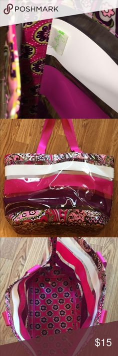 Vera Bradley Plum Crazy Beach Bag Made of thick plastic and nylon handles.  Excellent condition and from a smoke free home. Vera Bradley Bags Totes
