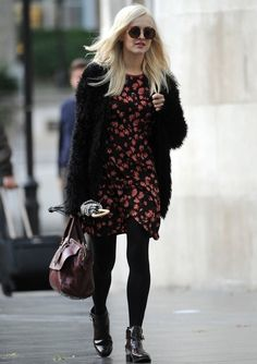 Retro Respect on thefashionspot.com printed mini dress and oversized frizzy cardigan