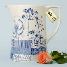 Uk brand of ceramic tableware and jugs designed by Kate Thorburn. Inspired by botanicals, vintage pattern and british blue and white heritage pottery. Ceramic Pitcher, Ceramic Tableware, Ceramic Jugs, Pottery Painting Designs, Paint Designs, Modern Ceramics, White Ceramics, Ceramic Painting, Ceramic Art