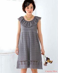 Это платье смотрится очень нежно. Свежо и очень по летнему! Обхват груди 88 см.. Длинна 83 см. Пряжа 350 гр. Крючок 4 «Knit Ange Best 30, Spring-Summer 2017»